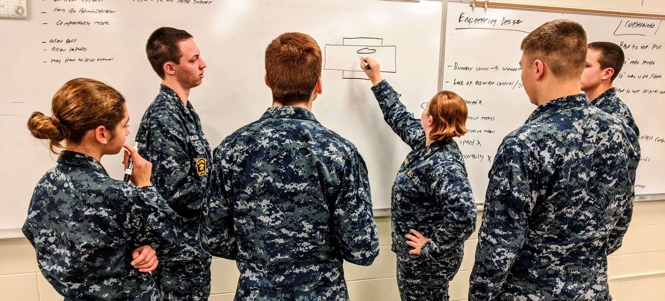 Cadets solving engineering design problems